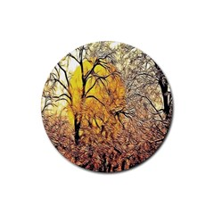 Summer Sun Set Fractal Forest Background Rubber Round Coaster (4 Pack)