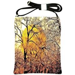 Summer Sun Set Fractal Forest Background Shoulder Sling Bags by Simbadda