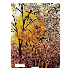 Summer Sun Set Fractal Forest Background Apple Ipad 3/4 Hardshell Case by Simbadda