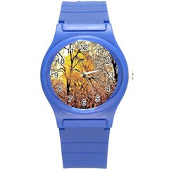 Summer Sun Set Fractal Forest Background Round Plastic Sport Watch (s) by Simbadda