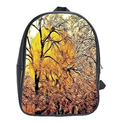 Summer Sun Set Fractal Forest Background School Bags (xl)  by Simbadda