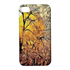 Summer Sun Set Fractal Forest Background Apple Iphone 4/4s Hardshell Case With Stand by Simbadda