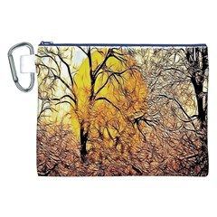 Summer Sun Set Fractal Forest Background Canvas Cosmetic Bag (xxl) by Simbadda