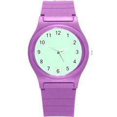 Pale Green Summermint Pastel Green Mint Round Plastic Sport Watch (S) by PodArtist