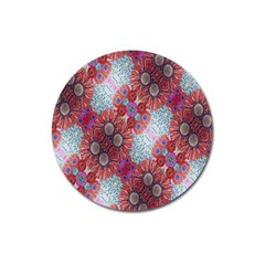 Floral Flower Wallpaper Created From Coloring Book Colorful Background Magnet 3  (round) by Simbadda