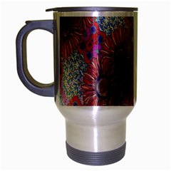 Floral Flower Wallpaper Created From Coloring Book Colorful Background Travel Mug (silver Gray) by Simbadda