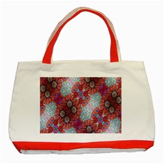 Floral Flower Wallpaper Created From Coloring Book Colorful Background Classic Tote Bag (red) by Simbadda