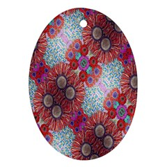 Floral Flower Wallpaper Created From Coloring Book Colorful Background Oval Ornament (two Sides) by Simbadda