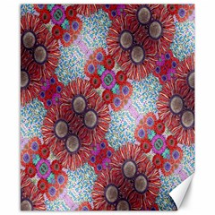 Floral Flower Wallpaper Created From Coloring Book Colorful Background Canvas 8  X 10  by Simbadda