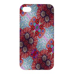 Floral Flower Wallpaper Created From Coloring Book Colorful Background Apple Iphone 4/4s Hardshell Case by Simbadda