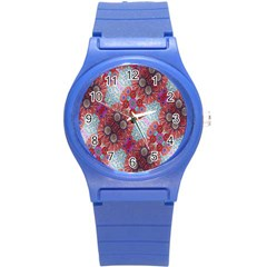 Floral Flower Wallpaper Created From Coloring Book Colorful Background Round Plastic Sport Watch (s) by Simbadda