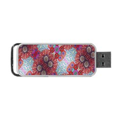 Floral Flower Wallpaper Created From Coloring Book Colorful Background Portable Usb Flash (two Sides) by Simbadda