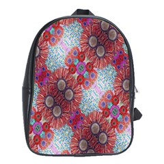 Floral Flower Wallpaper Created From Coloring Book Colorful Background School Bags (xl)  by Simbadda