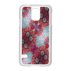 Floral Flower Wallpaper Created From Coloring Book Colorful Background Samsung Galaxy S5 Case (white) by Simbadda