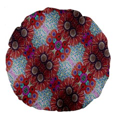 Floral Flower Wallpaper Created From Coloring Book Colorful Background Large 18  Premium Flano Round Cushions by Simbadda