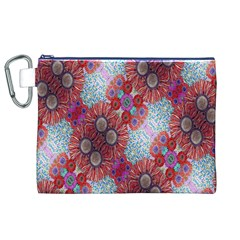 Floral Flower Wallpaper Created From Coloring Book Colorful Background Canvas Cosmetic Bag (xl) by Simbadda