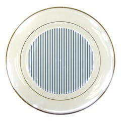 Mattress Ticking Narrow Striped Pattern in Dark Blue and White Porcelain Plates