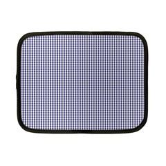 USA Flag Blue and White Gingham Checked Netbook Case (Small)  by PodArtist