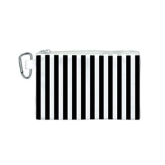 Large Black And White Cabana Stripe Canvas Cosmetic Bag (s) by PodArtist