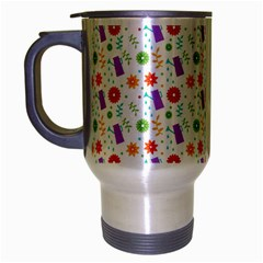 Decorative Spring Flower Pattern Travel Mug (silver Gray) by TastefulDesigns