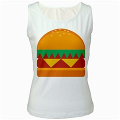 Burger Bread Food Cheese Vegetable Women s White Tank Top by Simbadda