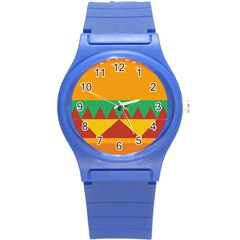 Burger Bread Food Cheese Vegetable Round Plastic Sport Watch (s) by Simbadda