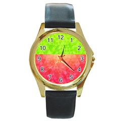 Colorful Abstract Triangles Pattern  Round Gold Metal Watch by TastefulDesigns