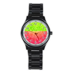 Colorful Abstract Triangles Pattern  Stainless Steel Round Watch by TastefulDesigns