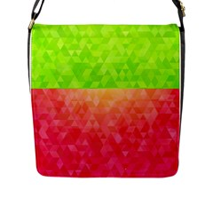 Colorful Abstract Triangles Pattern  Flap Messenger Bag (l)  by TastefulDesigns