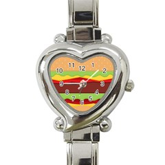 Vector Burger Time Background Heart Italian Charm Watch by Simbadda
