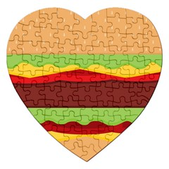 Vector Burger Time Background Jigsaw Puzzle (heart) by Simbadda
