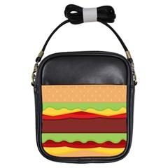 Vector Burger Time Background Girls Sling Bags by Simbadda
