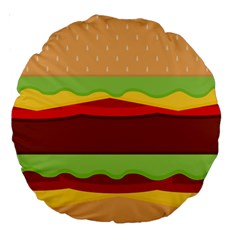 Vector Burger Time Background Large 18  Premium Round Cushions by Simbadda