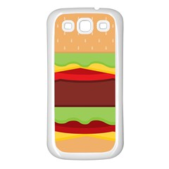 Vector Burger Time Background Samsung Galaxy S3 Back Case (white) by Simbadda