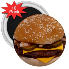 Cheeseburger On Sesame Seed Bun 3  Magnets (10 Pack)  by Simbadda