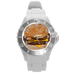 Cheeseburger On Sesame Seed Bun Round Plastic Sport Watch (l) by Simbadda