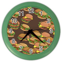 A Fun Cartoon Cheese Burger Tiling Pattern Color Wall Clocks by Simbadda