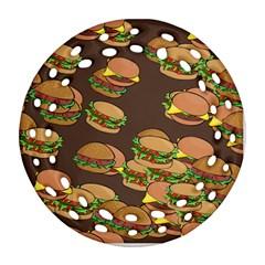 A Fun Cartoon Cheese Burger Tiling Pattern Ornament (round Filigree) by Simbadda