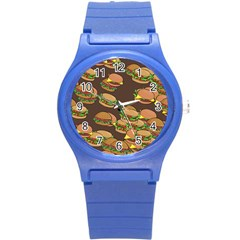 A Fun Cartoon Cheese Burger Tiling Pattern Round Plastic Sport Watch (s) by Simbadda