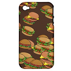 A Fun Cartoon Cheese Burger Tiling Pattern Apple Iphone 4/4s Hardshell Case (pc+silicone) by Simbadda