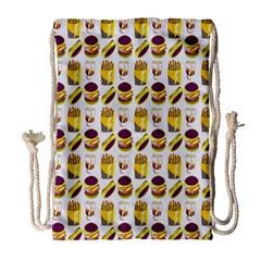 Hamburger And Fries Drawstring Bag (large) by Simbadda