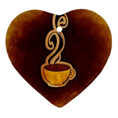 Coffee Drink Abstract Heart Ornament (two Sides) by Simbadda