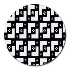 Abstract Pattern Background  Wallpaper In Black And White Shapes, Lines And Swirls Round Mousepads by Simbadda