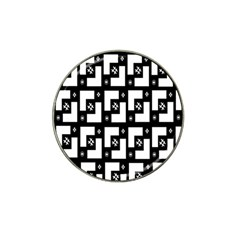 Abstract Pattern Background  Wallpaper In Black And White Shapes, Lines And Swirls Hat Clip Ball Marker (4 Pack) by Simbadda