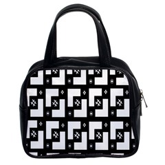 Abstract Pattern Background  Wallpaper In Black And White Shapes, Lines And Swirls Classic Handbags (2 Sides) by Simbadda