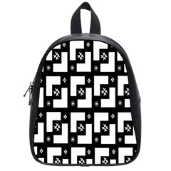 Abstract Pattern Background  Wallpaper In Black And White Shapes, Lines And Swirls School Bags (small)  by Simbadda