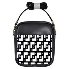 Abstract Pattern Background  Wallpaper In Black And White Shapes, Lines And Swirls Girls Sling Bags by Simbadda