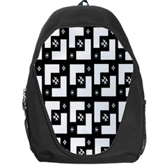 Abstract Pattern Background  Wallpaper In Black And White Shapes, Lines And Swirls Backpack Bag by Simbadda