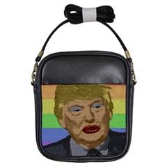 Donald Trump Girls Sling Bags by Valentinaart