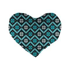 Folklore Standard 16  Premium Flano Heart Shape Cushions by Valentinaart
